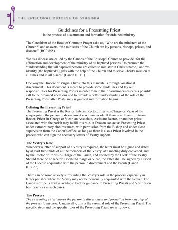 Guidelines for a Presenting Priest - Diocese of Virginia