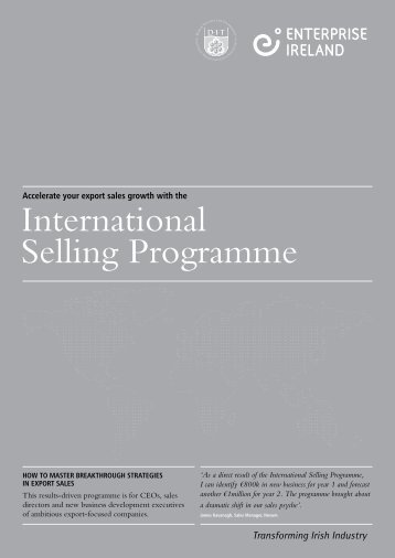 International Selling Programme - Final (1). - IT@Cork