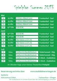 Spielplan Sommer 2013 - Studiobühne Erlangen eV