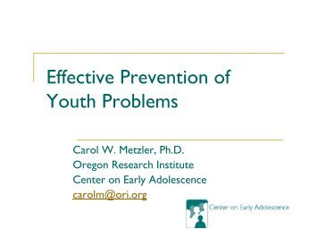 Presentation - the Center on Early Adolescence