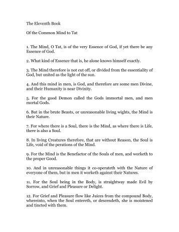 hermes trismegistus, book 11 - Holy Order Golden Dawn
