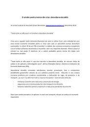 O solutie pentru iesirea din criza: dezvoltarea durabila - Centrul ...