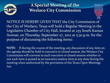 1. Agenda, Sept. 27, 2012 - City of Weslaco