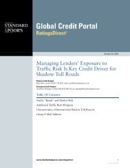 Managing Lenders' Exposure to Traffic Risk Is Key Credit Driver for ...