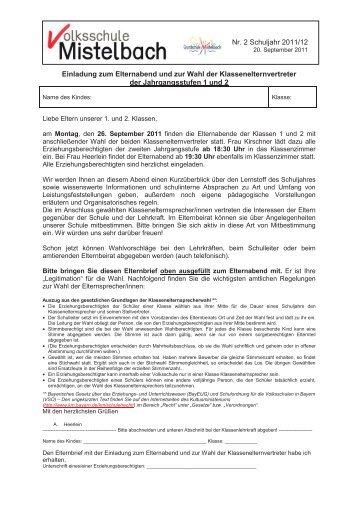 nr. 2 schuljahr 2011/12 einladung zum elternabend und zur wahl, Einladung