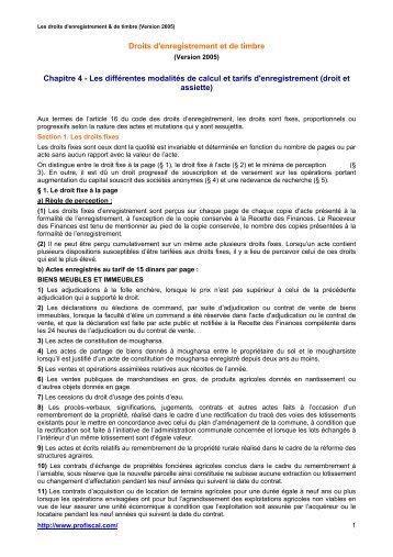 Droits D Enregistrement Et De Timbre Chapitre 3 Les