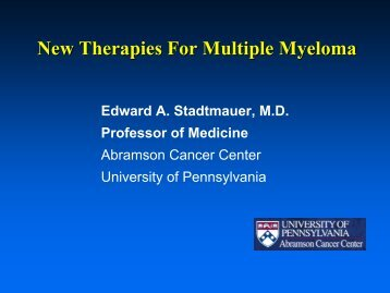 New Therapies For Multiple Myeloma - Abramson Cancer Center