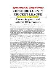 CHESHIRE COUNTY CRICKET LEAGUE - Cheshire Cricket Board