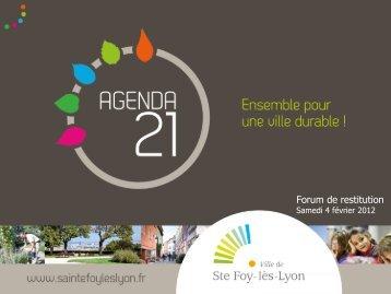Présentation de l'Agenda 21 fidésien - Sainte Foy-Lès-Lyon