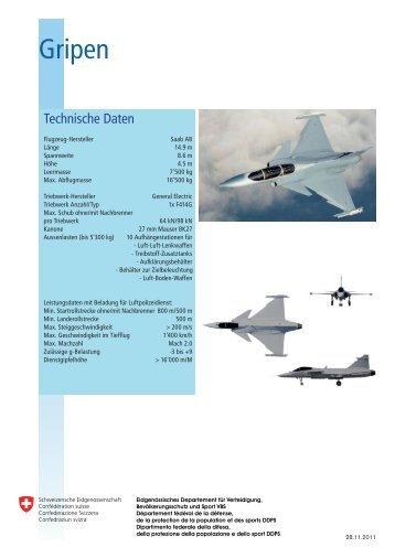 Technische Daten/Typendaten TTE Gripen, Rafale, Eurofighter