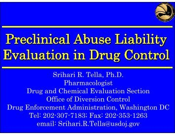 Preclinical Abuse Liability Evaluation in Drug Control