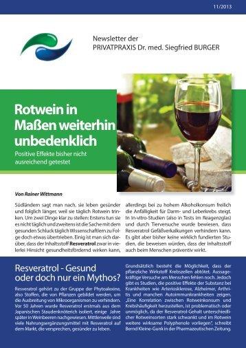 Rotwein in Maßen weiterhin unbedenklich - Privatpraxis Dr ...