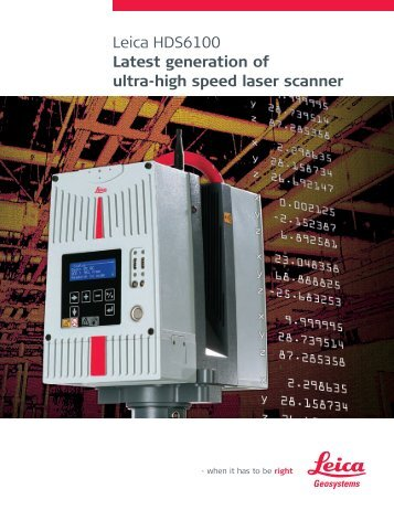 Leica HDS6100 Latest generation of ultra-high speed laser ... - CyArk