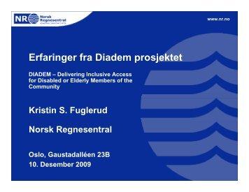 Erfaringer fra Diadem prosjektet - Norsk Regnesentral