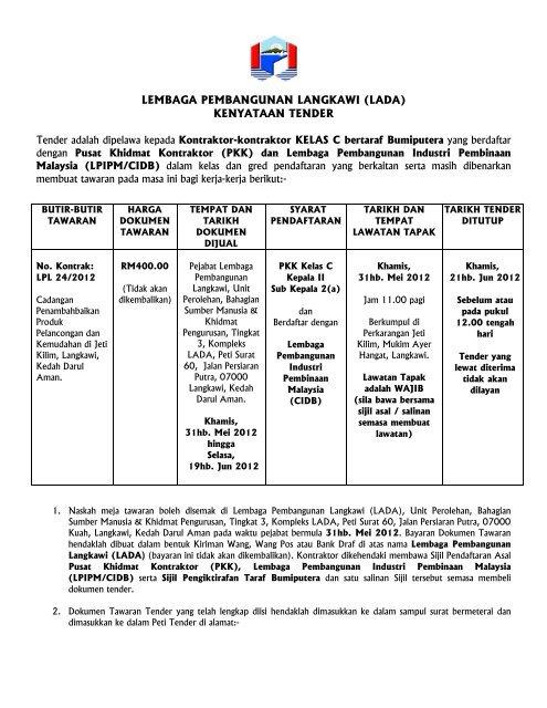 KENYATAAN TAWARAN - Lembaga Pembangunan Langkawi