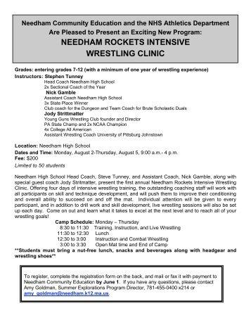 needham rockets intensive wrestling clinic - Needham Public Schools
