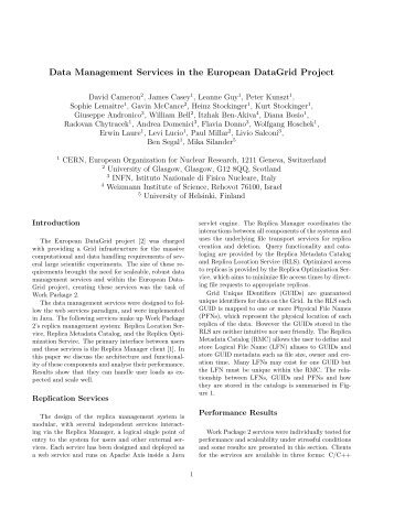 Data Management Services in the European DataGrid Project - GridPP