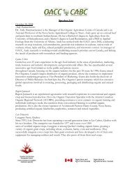 Speaker List - Centre d'agriculture biologique du Canada