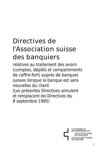 Richtlinien der Schweizerischen Bankiervereinigung - Association ...