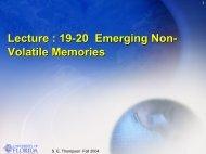 Lecture : 19-20 Emerging Non- Volatile Memories