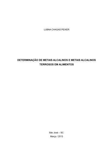 DETERMINAÇÃO DE METAIS ALCALINOS E METAIS ... - Wiki