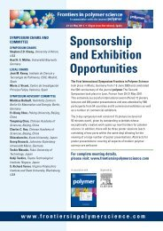 Sponsorship and Exhibition Sales Pack - Frontiers in Polymer Science