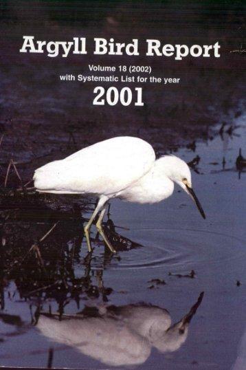 Argyll Bird Report 18 2001 - Argyll Bird Club