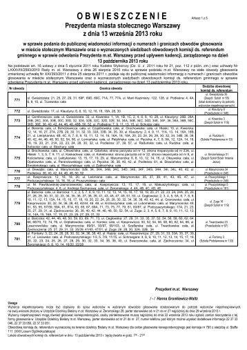 granice obwodów i siedziby obwodowych komisji - Urząd Dzielnicy ...