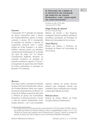 O Tratado de Lisboa e o princípio do primado do direito da União ...