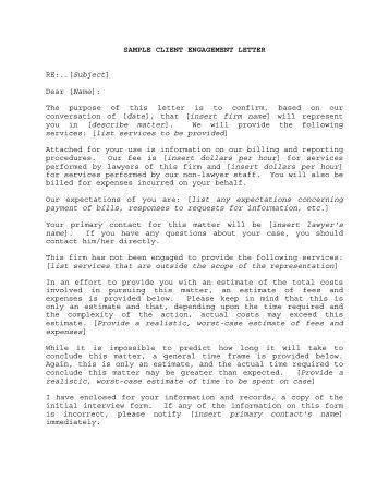 letter of engagement template free letters engagement