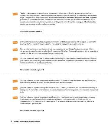 Grado 4, Notas de las tareas de revisión - MacMillan Tesoros