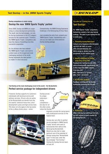 Test Dunlop – in the 'BMW Sports Trophy' Dunlop ... - BMW Motorsport