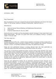 Shareholder Letter - Gullewa Limited