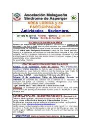 Actividades: Área lúdica y de participación. Noviembre 2011