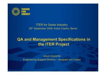 QA and Management Specifications in the ITER Project - Iter Industry