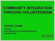 community integration through volunteerism - Texas Council of ...