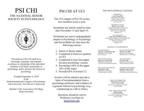 Psi Chi Brochure UCI Cognitive Sciences
