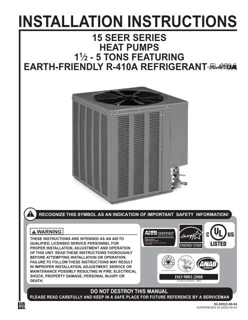 92-20522-80 Rev  04 15PJL Value Series 15 Seer
