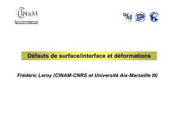Défauts de surface/interface et déformations - IM2NP