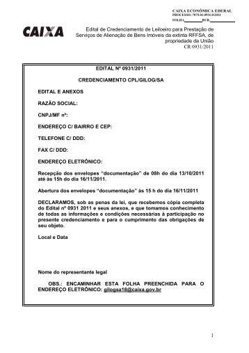 Edital de Credenciamento de Leiloeiro para Prestação de ...
