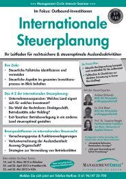 Seminar: Internationale Steuerplanung - Management Circle AG