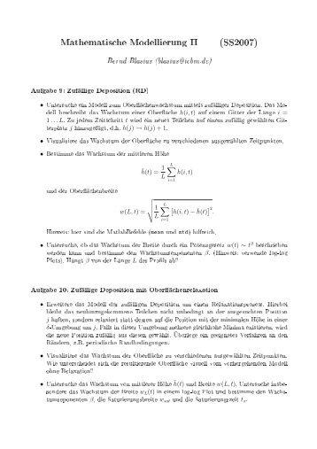 Übungsblatt 5 - Mathematische Modellierung - ICBM