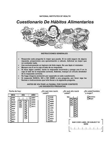 Cuestionario De Hábitos Alimentarios - Applied Research Program