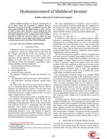 Hysteresiscontrol of Multilevel Inverter - International Journal of ...