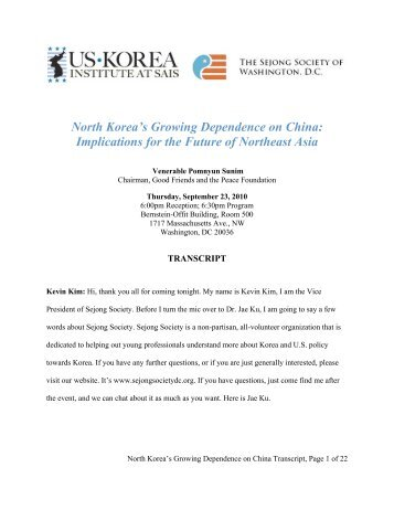 North Korea's Growing Dependence on China - US-Korea Institute ...