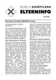 Planung für Schuljahr 2005/2006 im Gang - Schule Schöftland