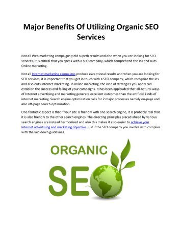 Major Benefits Of Utilizing Organic SEO Services