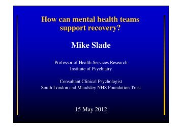 How Can Mental Health Teams Support recovery? - Region ...