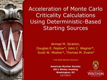Acceleration of Monte Carlo Criticality Calculations Using ...