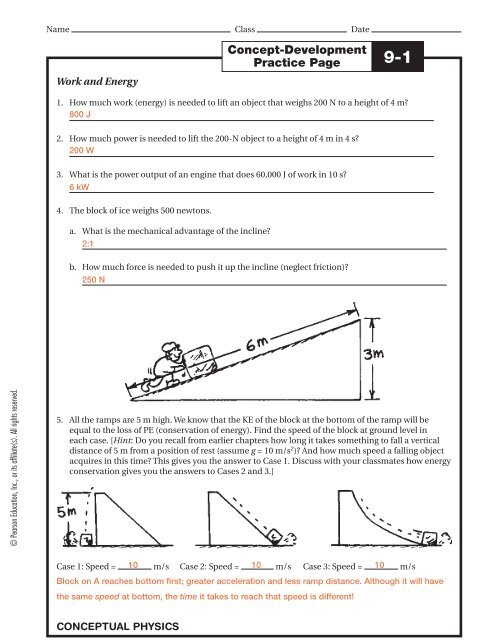 Physics Study Guide Solutions Verona Public Schools